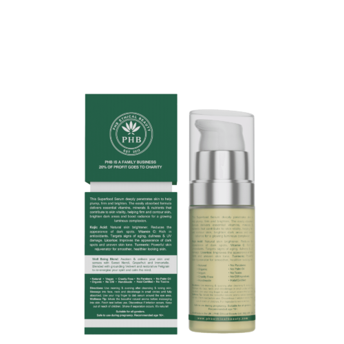 Superfood vegan Face and eye serum, back