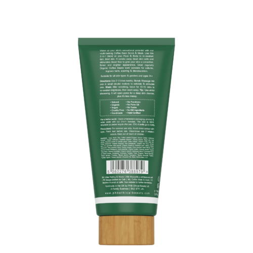 Coffee Bean vegan face Scrub and Mask, back