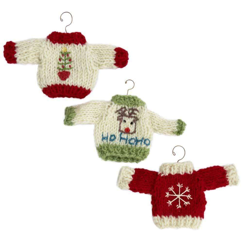 photo of 3 christmas jumper christmas decorations